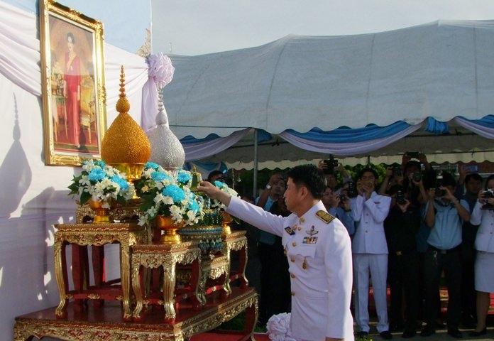 Chonburi Gov. Pakarathorn Thienchai leads the province's main commemoration of the Queen's birthday.