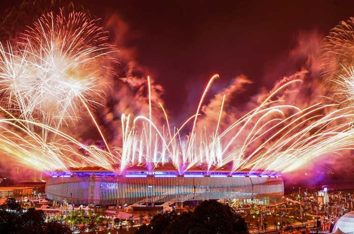 Fireworks explode above the Bukit Jalil National Stadium in Kuala Lumpur, Malaysia, Saturday, August 19, during the opening ceremony for the 29th SEA Games.