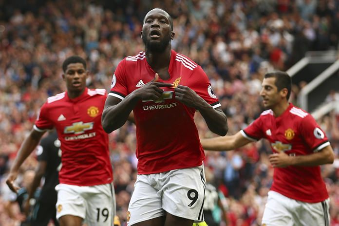 Manchester United's Romelu Lukaku celebrates scoring his side's first goal of the game during their English Premier League match against West Ham United at Old Trafford in Manchester, Sunday, Aug. 13. (AP Photo/Dave Thompson)