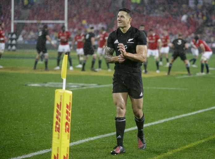 In this file photo dated Saturday, July 1, 2017, New Zealand center Sonny Bill Williams walks from the field after being sent off during the second rugby test between the British and Irish Lions and the All Blacks in Wellington, New Zealand. (AP Photo/Mark Baker)