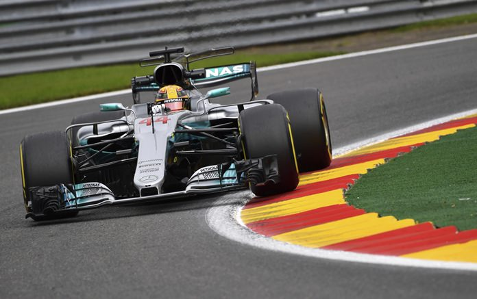 Mercedes driver Lewis Hamilton of Britain steers his car during the second practice session ahead of the Belgian Formula One Grand Prix in Spa-Francorchamps, Belgium, Friday, Aug. 25. (AP Photo/Geert Vanden Wijngaert)