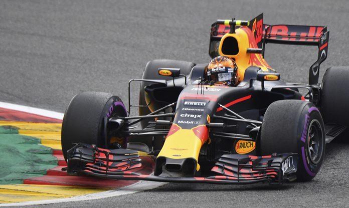 Red Bull driver Max Verstappen of the Netherlands steers his car during the Belgian Formula One Grand Prix in Spa-Francorchamps, Belgium, Sunday, Aug. 27. (AP Photo/Geert Vanden Wijngaert)