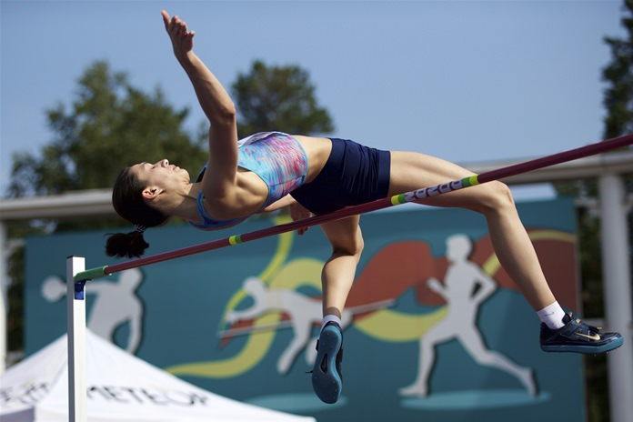 Russian high jumper Maria Lasitskene competes during the national track and field championship in Moscow, Friday, July 28, 2017. (AP Photo/Ivan Sekretarev)
