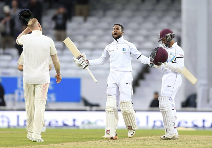 West Indies Shai Hope celebrates after scoring the winning runs during day five of the second test against England at Headingley cricket ground in Leeds, England, Tuesday, Aug. 29. (Nigel French/PA via AP)