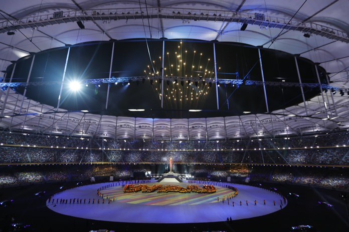 Fireworks explode above the national stadium during the closing ceremony of the 29th South East Asian Games in Kuala Lumpur, Malaysia, Wednesday, Aug. 30. (AP Photo/Vincent Thian)