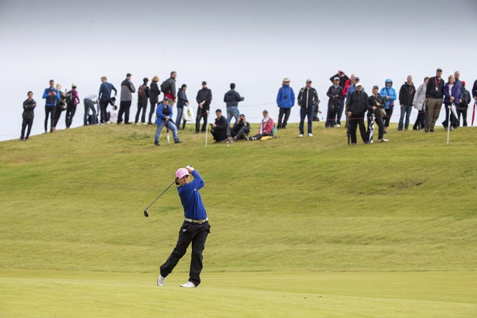 Korea's In-Kyung Kim plays her approach to the 2nd hole during day four of the 2017 Women's British Open at Kingsbarns Golf Links, St Andrews, Sunday Aug. 6. (Kenny Smith/PA via AP)