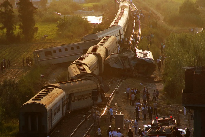 Two trains are seen after they collided just outside Egypt's  Mediterranean port city of Alexandria. (AP Photo/Ravy Shaker)