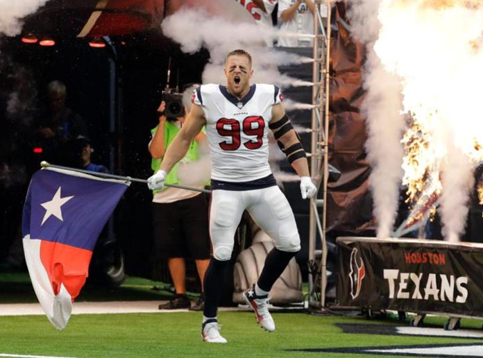 Houston Texans defensive end J.J. Watt is introduced to the crowd prior to an NFL football game against the Jacksonville Jaguars, Sunday, Sept. 10, in Houston. (AP Photo/David J. Phillip)