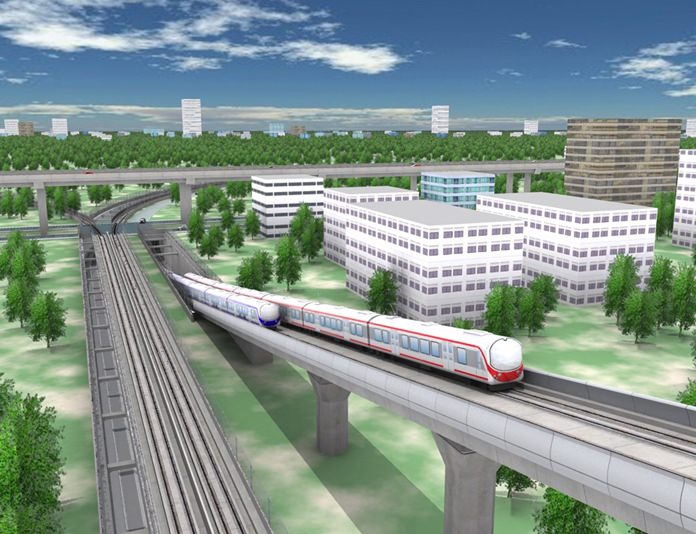 An artist's rendering of what the new rail line might look like. The State Railway of Thailand next month will request 28 billion baht to construct a high-speed train line linking Pattaya with the region's three main airports.
