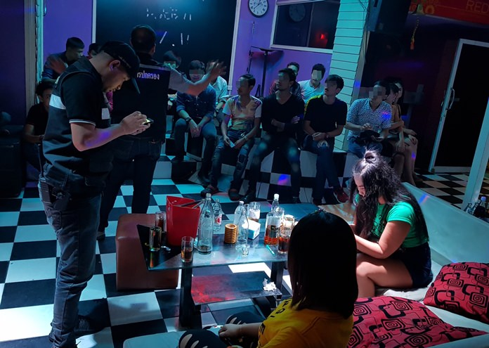 Banglamung District officials raided two Pattaya karaoke clubs that were blasting loud music after legal hours.