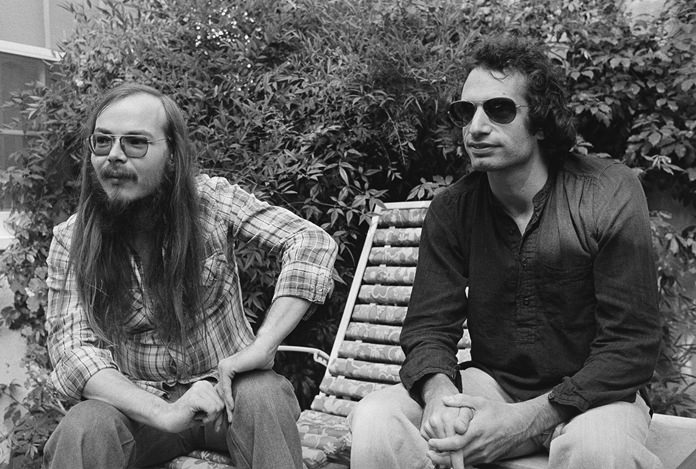 In this Oct. 29, 1977, file photo, Walter Becker (left) and Donald Fagen of Steely Dan, sit in Los Angeles. Becker passed away Sunday, Sept. 3. He was 67. (AP Photo/Nick Ut)