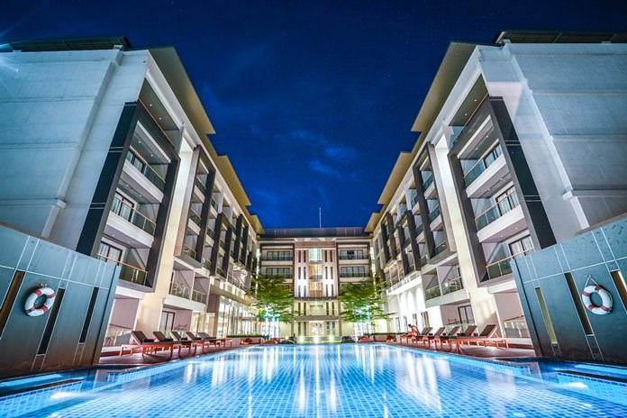 The poolside view of the Serenity Hotel & Spa in Kabinburi.