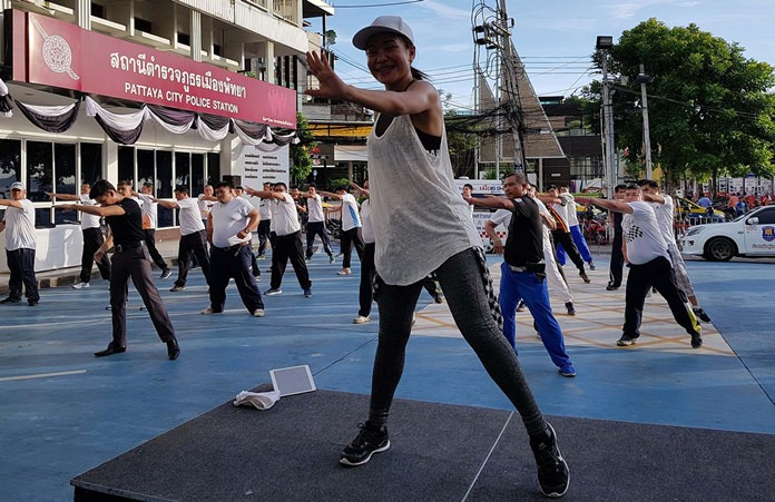 Pattaya police continued their effort to get in shape, switching to aerobics for their weekly exercise class.