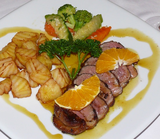 Another hefty plate with Duck l'Orange.