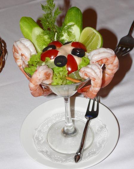 Prawn cocktail starter.