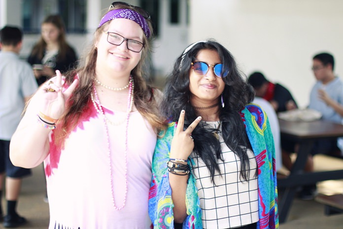 IB Diploma students spread peace on the hippie-style mufti day.