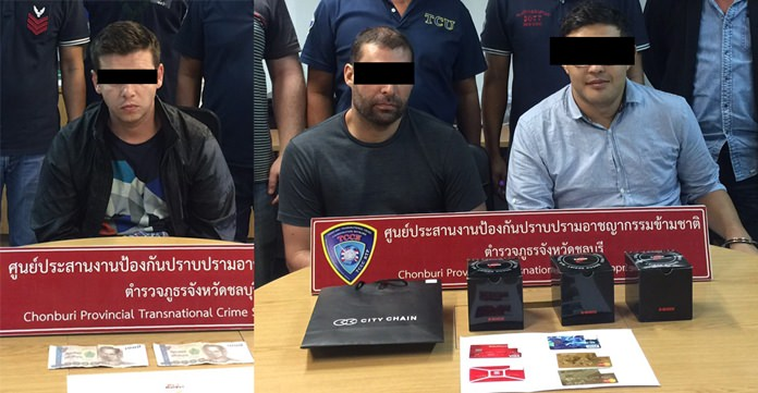Peter Viktorov Lipovl from Bulgaria, Igor Britvich from Russia, and Arman Shegelov from Kazakhstan were arrested for allegedly using counterfeit credit cards and currency to go on a shopping spree in Pattaya.