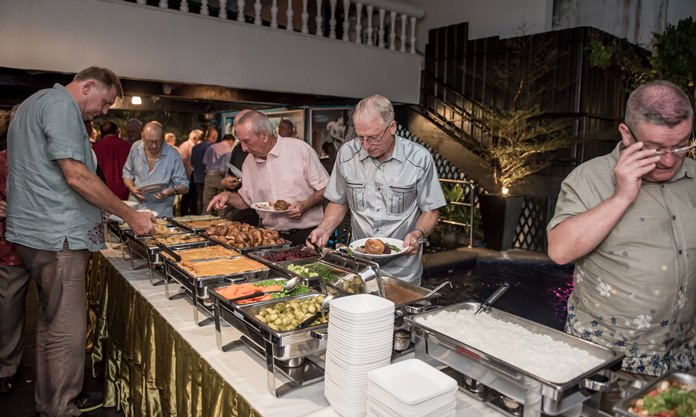 Scrumptious buffet catered by the Sportsman Pub.