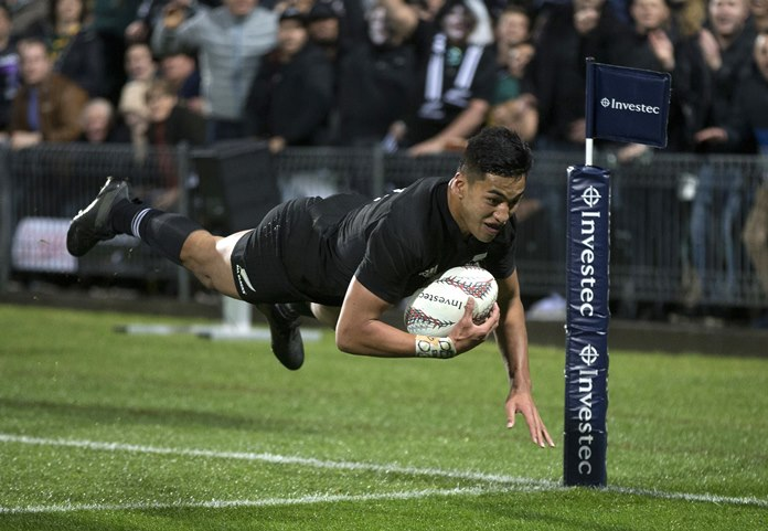 New Zealand's winger Rieko Ioane scores a try against South Africa during their Rugby Championship match in Auckland, New Zealand, Saturday, Sept. 16. (Brett Phibbs/New Zealand Herald via AP)