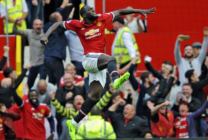 Manchester United's Romelu Lukaku celebrates after scoring during the English Premier League match against Everton at Old Trafford in Manchester, Sunday, Sept. 17. (AP Photo/Rui Vieira)
