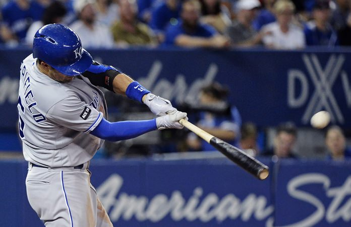 Kansas City Royals' Whit Merrifield hits a solo home run against the Toronto Blue Jays during the sixth inning of a baseball game in Toronto on Wednesday, Sept. 20. (Nathan Denette/The Canadian Press via AP)