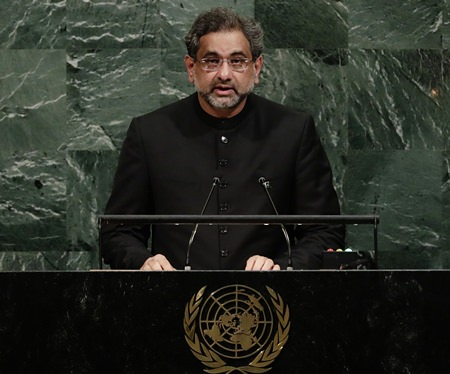 Prime Minister of Pakistan Shahid Khaqan Abbasi addresses the United Nations General Assembly Thursday, Sept. 21, at the United Nations headquarters in New York. (AP Photo/Frank Franklin II)