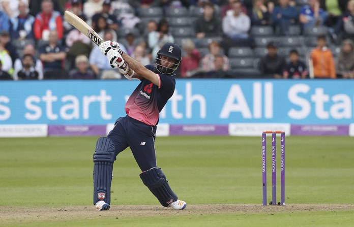 England's Moeen Ali bats during the third One Day International against West Indies at Bristol County Ground, England, Sunday Sept. 24. (David Davies/PA via AP)