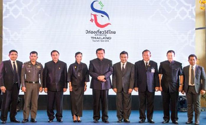 General Tanasak Patimapragorn, Deputy Prime Minister of Thailand (centre) is joined at a TAT media event by Kobkarn Wattanavrangkul, Minister of Tourism and Sports (4th from left), Kalin Sarasin, Chairman of the Board of TAT (3rd from left), Pol.Maj.Gen.Prasert Ngernyuang, Commander of Tourist police Division 1, Tourist police Bureau. (2nd from left), Asdang Khumkomgo, Executive Vice President of Airport of Thailand (AOT) (1st from left), Pongpanu Svetarundra, Permanent Secretary Ministry of Tourism and Sports (4th from right), Admiral Itthikom Bhamarasuta – Deputy Secretary-General to the Prime Minister (3rd from right), Yuthasak Supasorn, TAT Governor (2nd from right), and Ittirith Kinglake, President of the Tourism Council of Thailand (1st from right).