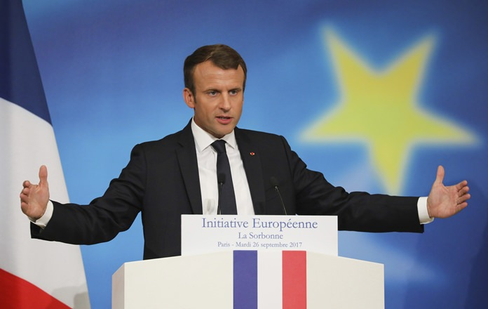 French President Emmanuel Macron delivers a speech on the European Union at the amphitheater of the Sorbonne university in Paris, France, Tuesday, Sept. 26. (Ludovic Marin/Pool Photo via AP)