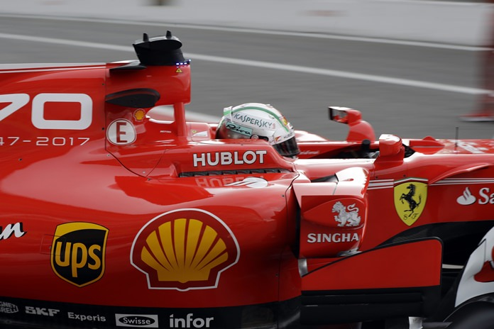 Ferrari driver Sebastian Vettel of Germany starts his first free practice for Sunday's Italian Formula One Grand Prix, at the Monza racetrack, Italy, Friday, Sept.1. (AP Photo/Luca Bruno)