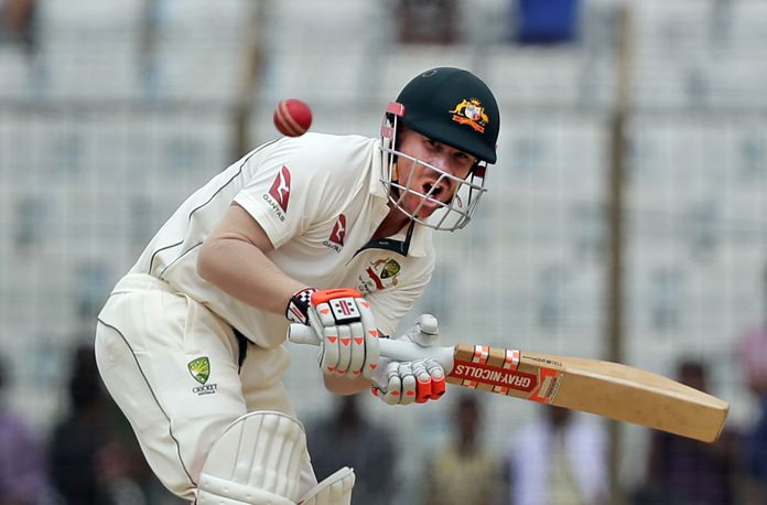 Australia's David Warner plays a shot during the second day of the second test against Bangladesh in Chittagong, Bangladesh, Tuesday, Sept. 5. (AP Photo/A.M. Ahad)