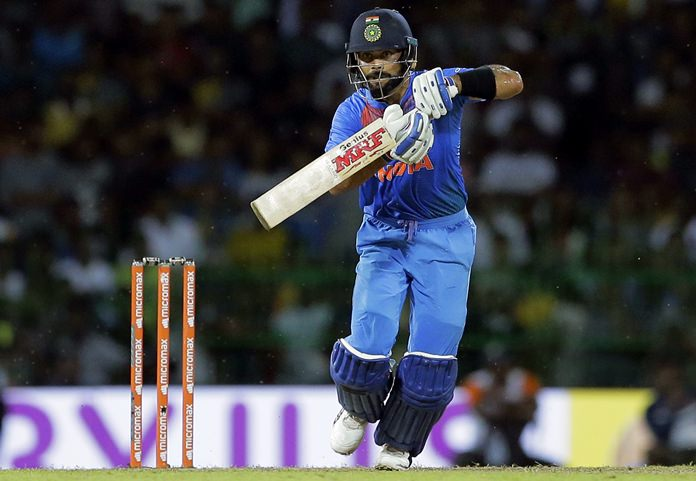 India's Virat Kohli plays a shot during the Twenty20 cricket match against Sri Lanka in Colombo, Sri Lanka, Wednesday, Sept. 6. (AP Photo/Eranga Jayawardena)