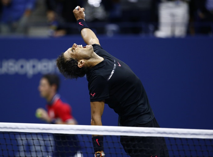 Rafael Nadal, of Spain, reacts after beating Juan Martin del Potro, of Argentina, during the semifinals of the U.S. Open tennis tournament, Friday, Sept. 8, in New York. (AP Photo/Andres Kudacki)