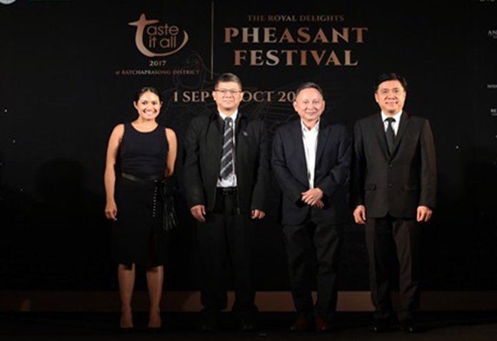 Ms. Padari Bunnag, Head of Royal Project Cuisine (left), Mr. Chattan Kunjara Na Ayudhya, TAT's Deputy Governor for Marketing Communications, Mr. Chai Srivikorn, President of Ratchaprasong Square Trade Association (RSTA) (2nd right), Mr. Amorn Suvachittanont, Senior Vice President, Retail Payment and Foreign Exchange Products Management Department, Kasikorn Bank (right)