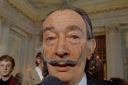 In this May 21, 1973 file photo, Spanish surrealist painter Salvador Dali, presents his first Chrono-Hologram in Paris, France.(AP Photo/Eustache Cardenas, File)