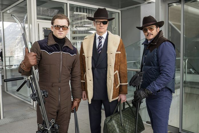"""This image shows (from left) Taron Egerton, Colin Firth, and Pedro Pascal in """"Kingsman: The Golden Circle."""" (Giles Keyte/Twentieth Century Fox via AP)"""