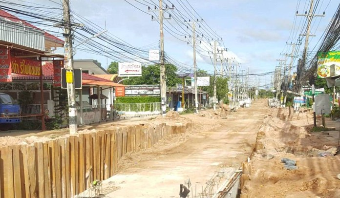 Many businesses along Siam Country Club Road have shut down due to the slow road works.