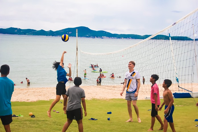 A healthy game of volleyball broke out on the front garden.