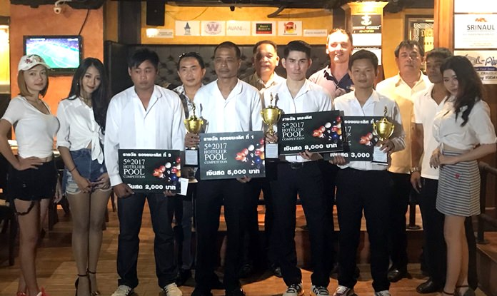 Champion hotel pool players pose for a group photo at the Avani Pattaya Resort & Spa, September 28.