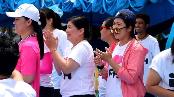 Participants smile during the Bangkok Hospital Pattaya Sports Day.