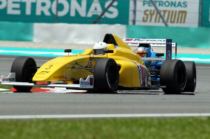 Shepherd steers his Formula 4 car on the Sepang racing circuit during the F1 Grand Prix weekend in Sepang, Malaysia, Sunday, Oct. 1.