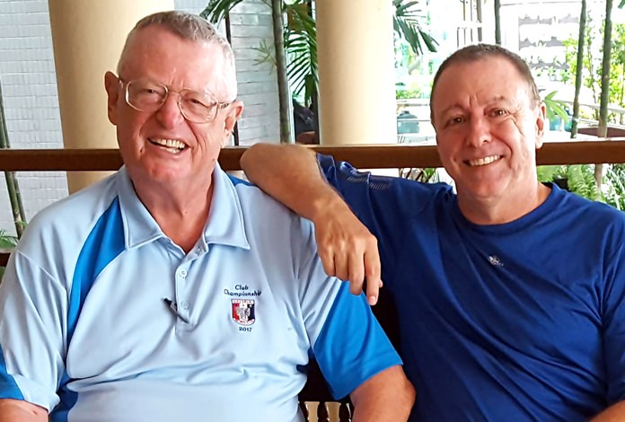 Dick Warberg (left) with Tom Herrington.