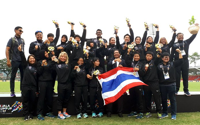 Thailand's women's national cricket team celebrates gold medal winning success at the 2017 SEA Games in Kuala Lumpur Malaysia. (Photo/Thailand Cricket Association)