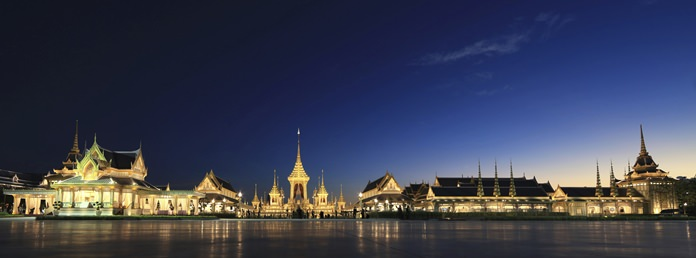 The warmly illuminated royal crematorium and funeral complex for the late Thai King Bhumibol Adulyadej. (AP Photo/Wason Wanichakorn)