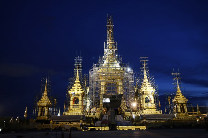 The royal crematorium and funeral complex for the late Thai King Bhumibol Adulyadej is shown under construction, Sept. 25 in Bangkok. (AP Photo/Sakchai Lalit)