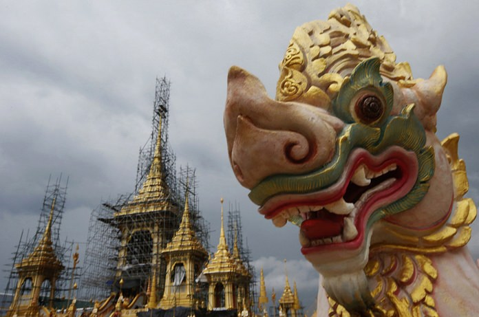 In this Oct. 2, 2017, photo, construction continues for the royal crematorium and funeral complex. (AP Photo/Sakchai Lalit)