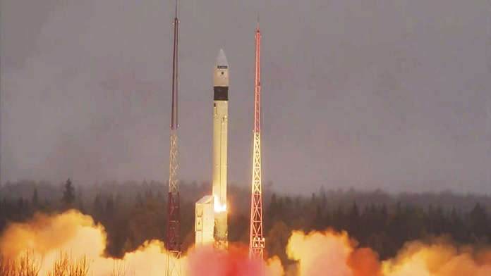 A rocket carrying the atmosphere-monitoring satellite for Europe's Copernicus programme, Sentinel-5P, lifts off from the Plesetsk Cosmodrome in northern Russia Friday, Oct. 13. (ESA via AP)