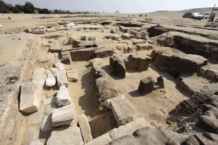 This undated photo shows the remains of a recently discovered temple for King Ramses II, in Abusir, southwest of Cairo. (Egyptian Ministry of Antiquities via AP)