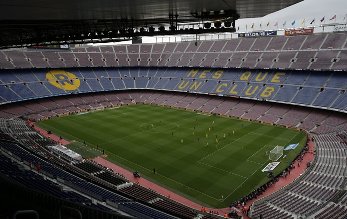 The Spanish La Liga soccer match between Barcelona and Las Palmas is played behind closed doors at the Camp Nou stadium in Barcelona, Sunday, Oct. 1. (AP Photo/Manu Fernandez)