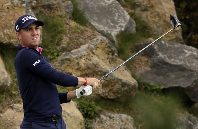 Justin Thomas of the United States watches his shot on the 12th hole during the final round of the CJ Cup golf tournament at Nine Bridges on Jeju Island, South Korea, Sunday, Oct. 22. (Park Ji-ho/Yonhap via AP)